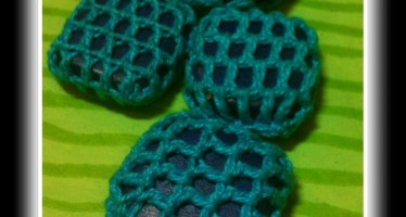 Crochet-covered wood beads!