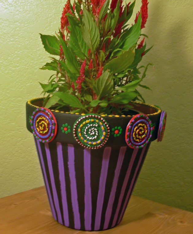 Clay-trimmed Flower Pot - Crafty Chica