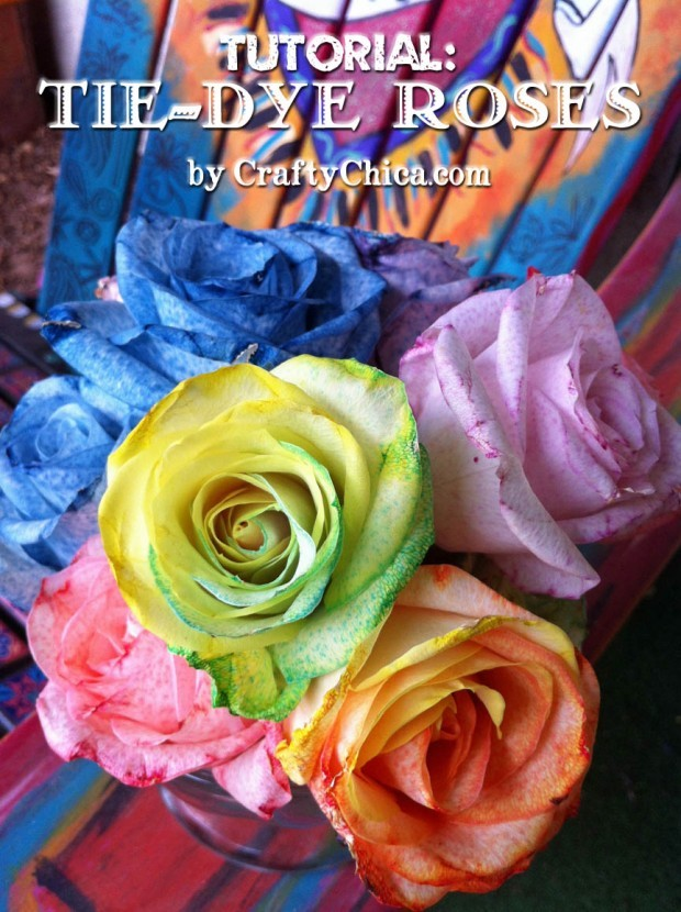 make tie dye rainbow roses the crafty chica