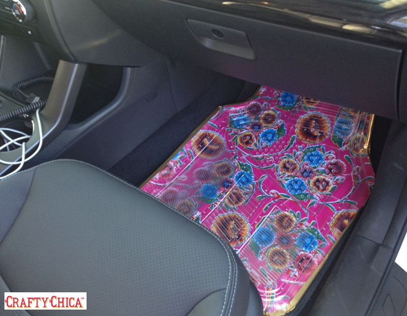 how to make oilcloth car mats the crafty chica. Black Bedroom Furniture Sets. Home Design Ideas