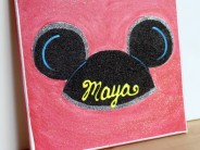 Glittered Mickey Ears Canvas