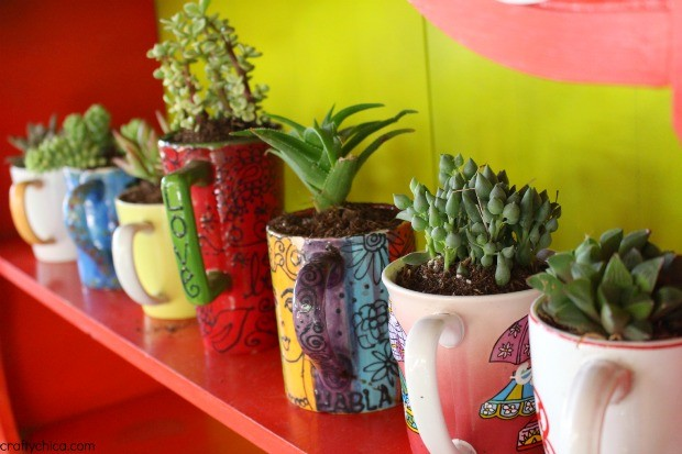 Coffee Mug Planters by CraftyChica.com