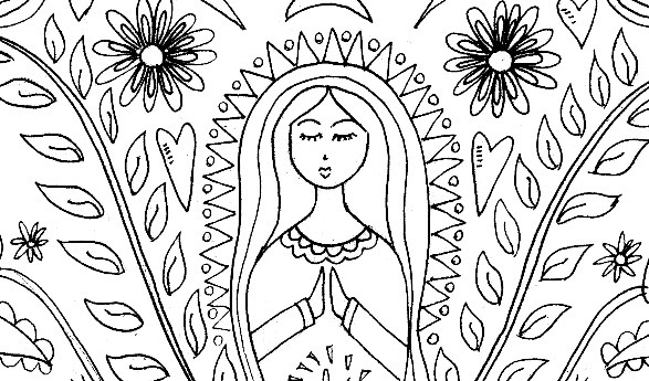 Mother Mary Coloring Page & Pattern