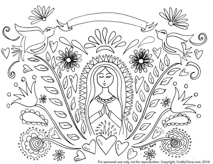 Mother Mary Coloring Page Amp Pattern The Crafty Chica