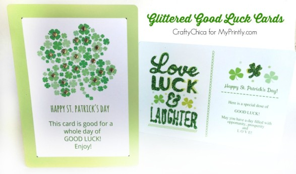 Glittery Good Luck Cards