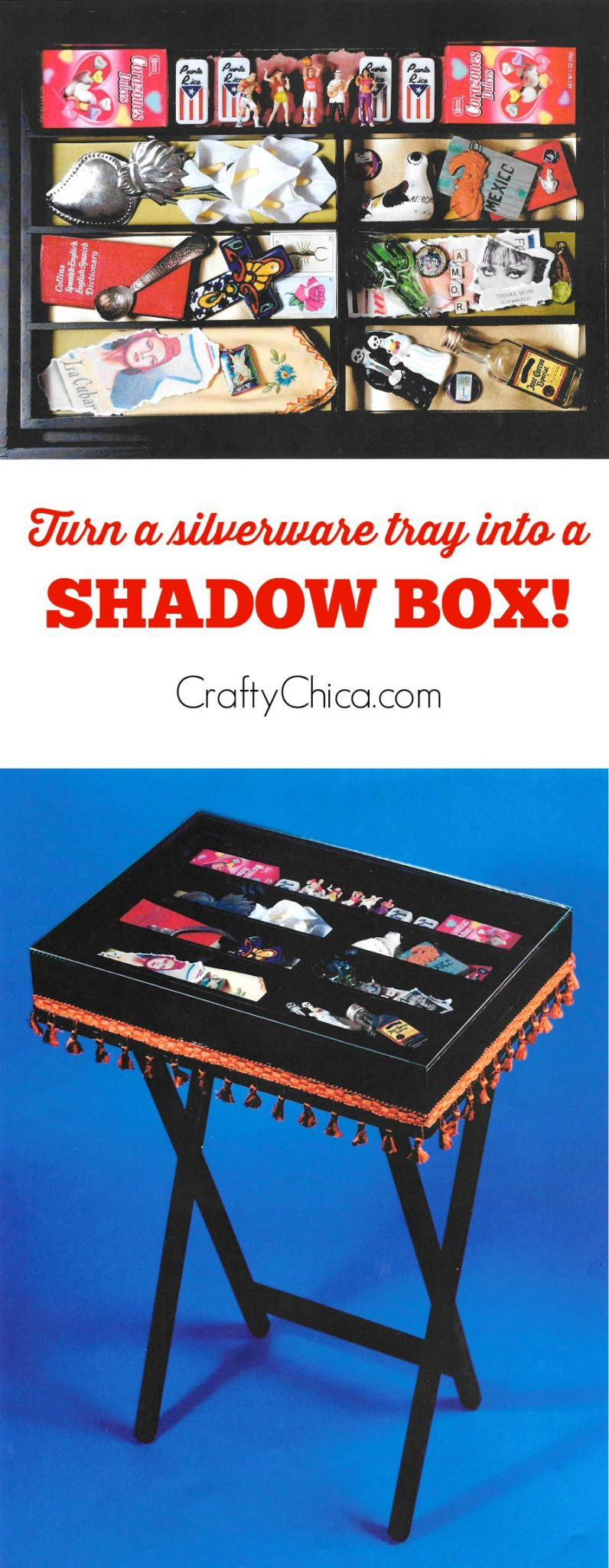 How to make a showbox table from a silverware tray by CraftyChica.com.