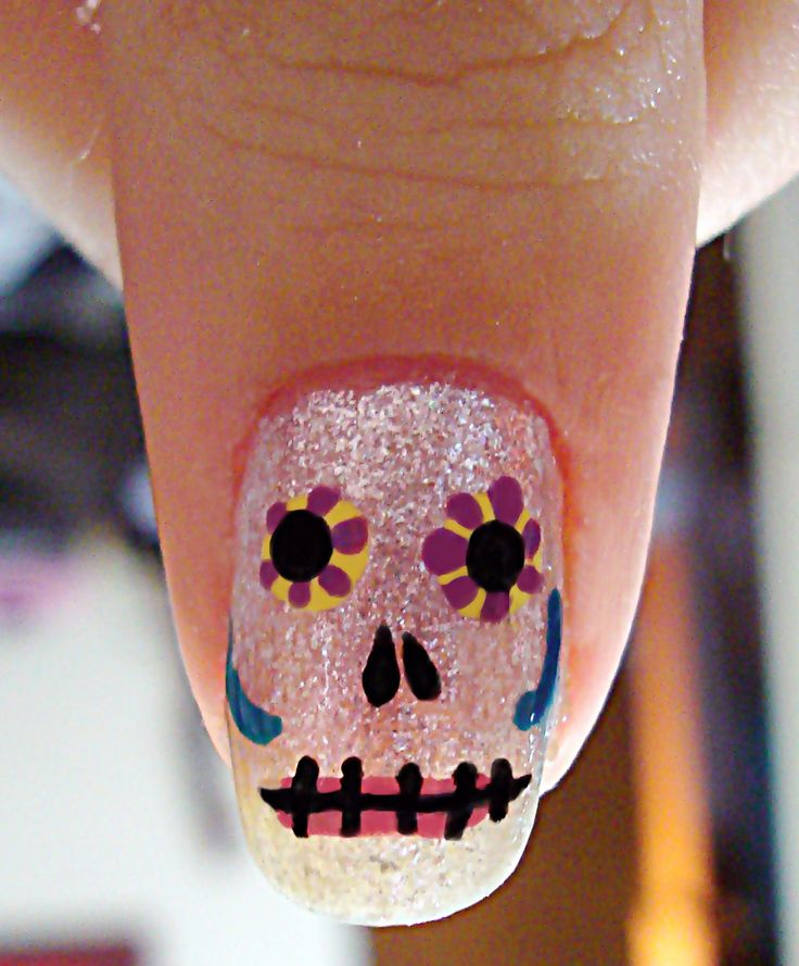 Glittered Skull Nails. 27dcc4e9c97f8c34c0872df13581e50f.  27dcc4e9c97f8c34c0872df13581e50f - 12 Sugar Skull Nail Tutorials - The Crafty Chica