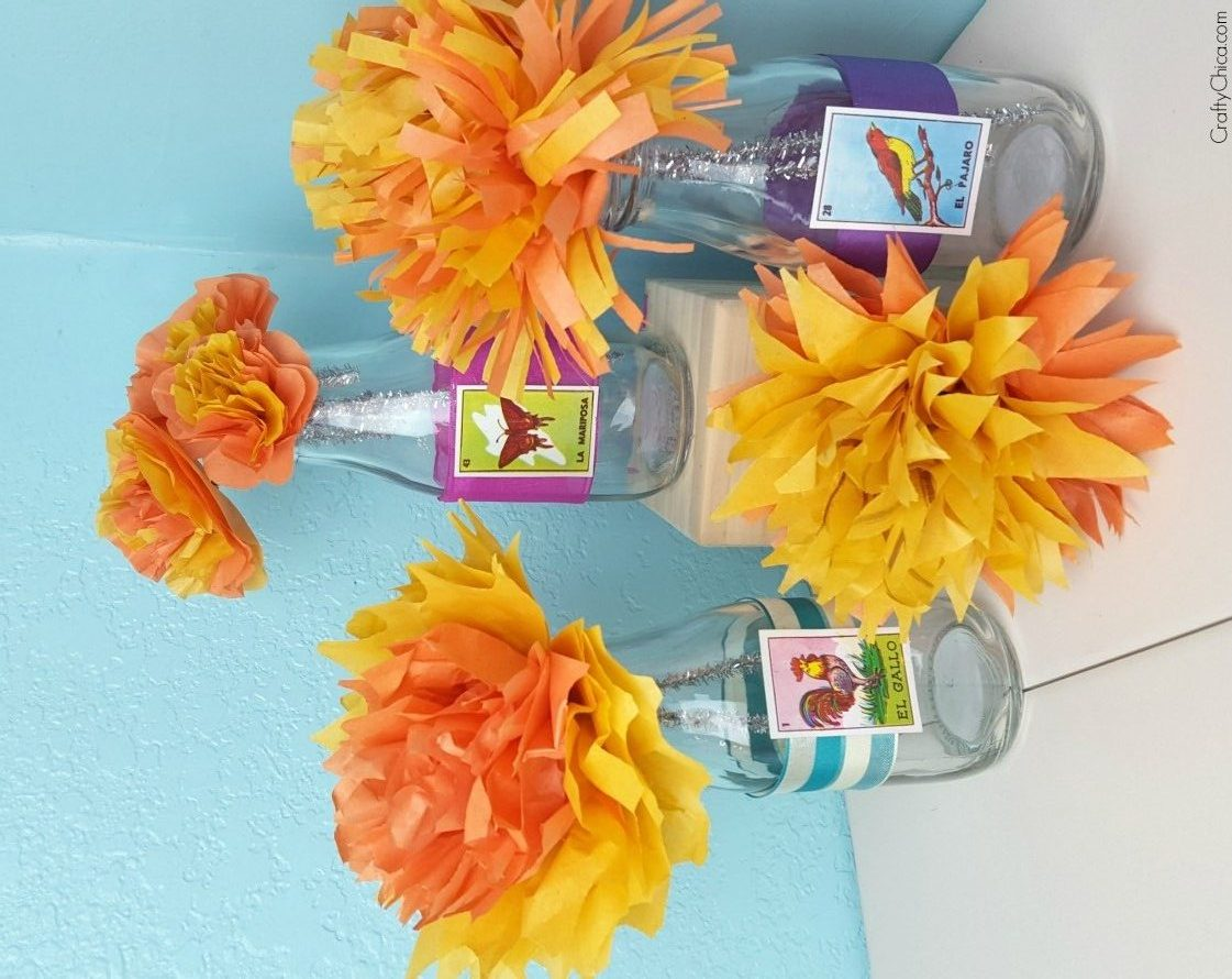 Tissue Paper Marigolds Diy The Crafty Chica