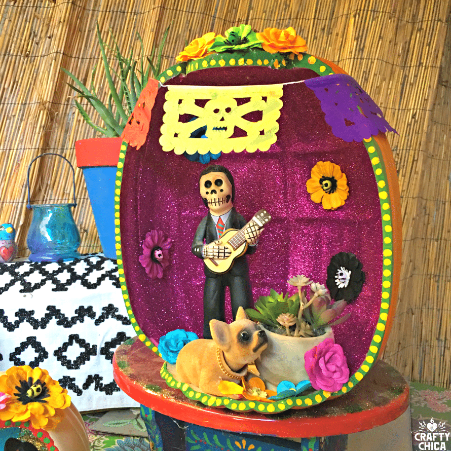 Day of the Dead pumpkin shadow box