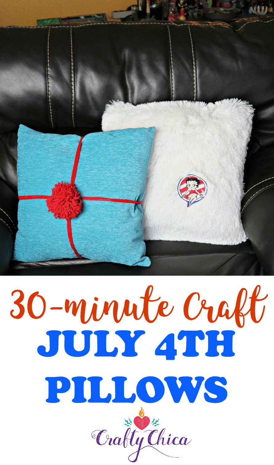 July 4th pillows with removable embellishments, by Crafty Chica.