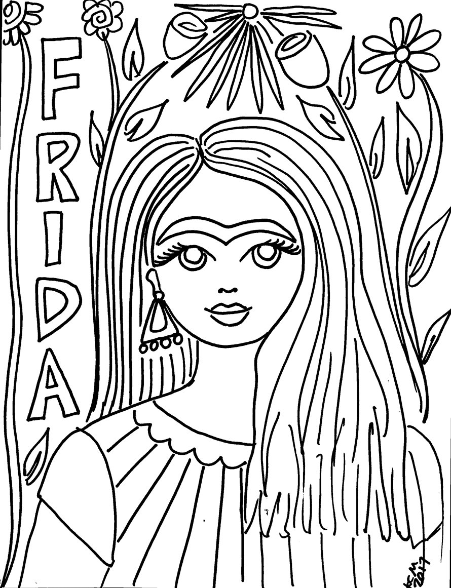 free frida kahlo coloring pages