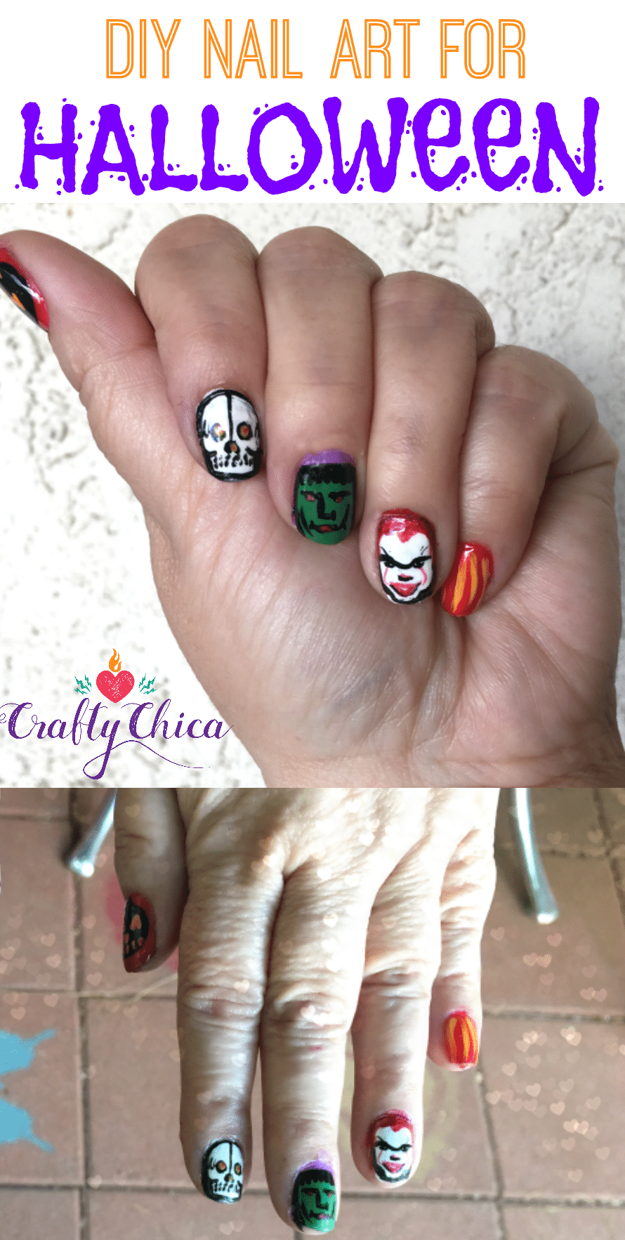 Halloween nail art - Pennywise (and More) Halloween Nail Art DIY - The Crafty Chica