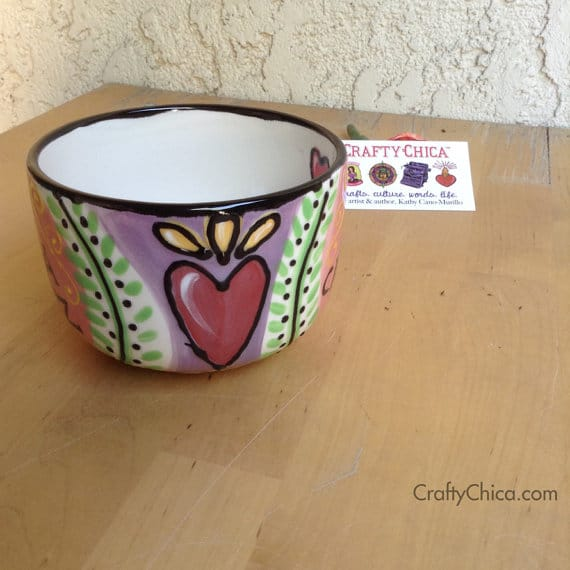 Fired ceramic mug. Perfect for cafecito and pan dulce!The black lines are dimensional Mi vida feliz mug by Crafty Chica.