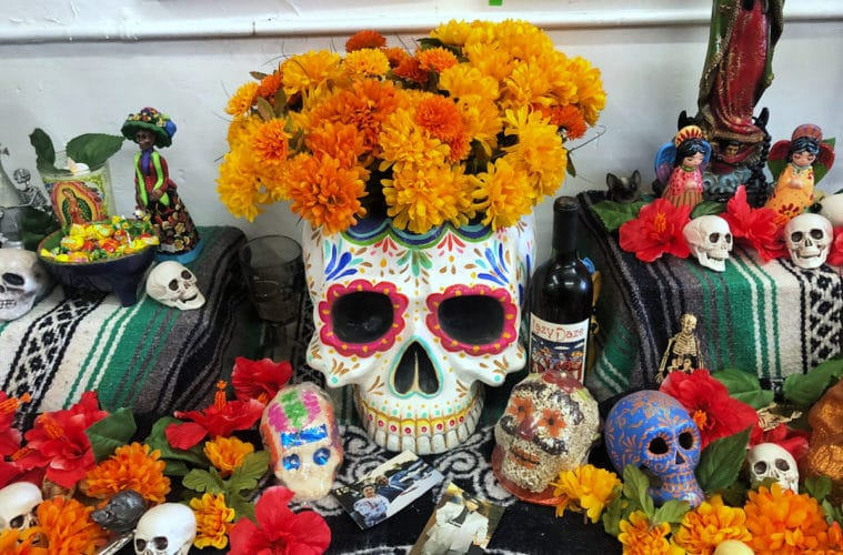 05e933d2b531 How to make a sugar skull floral centerpiece - The Crafty Chica