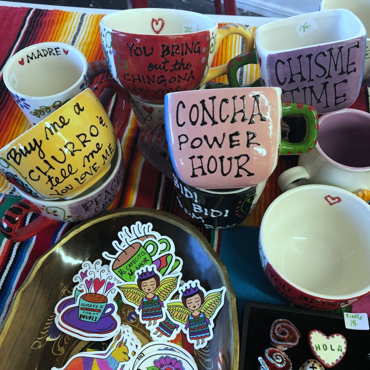Mugs and stickers by Crafty Chica.