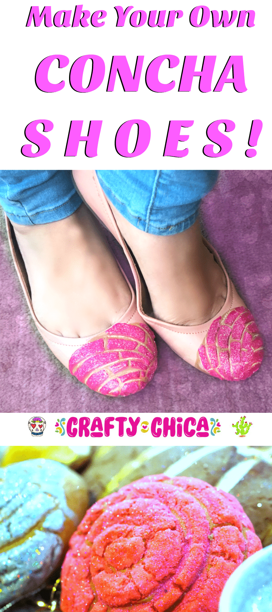 DIY concha shoes by Crafty Chica.