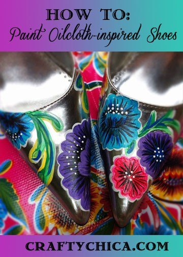 Painted oilcloth shoes