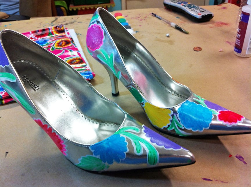 Painted oilcloth shoes in progress.