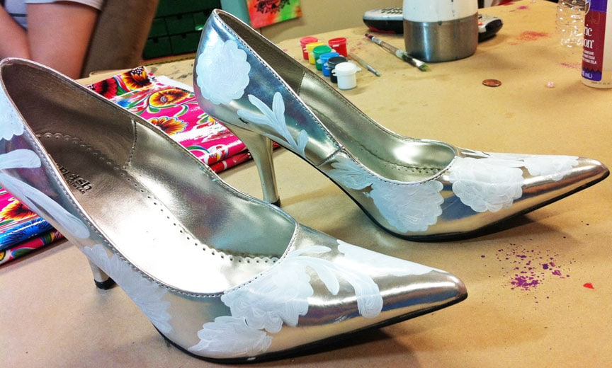 Oilcloth-inspired shoes in progress.