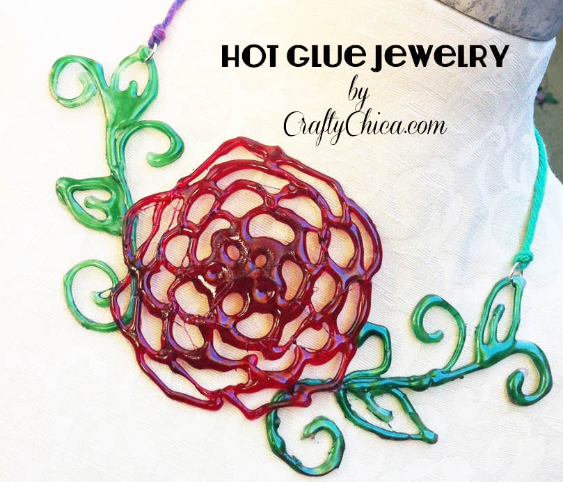 Hot glue jewelry crafty chica for What kind of glue to use for jewelry