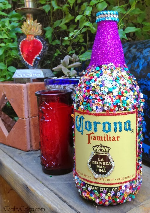 How to embellish a bottle by Crafty Chica.