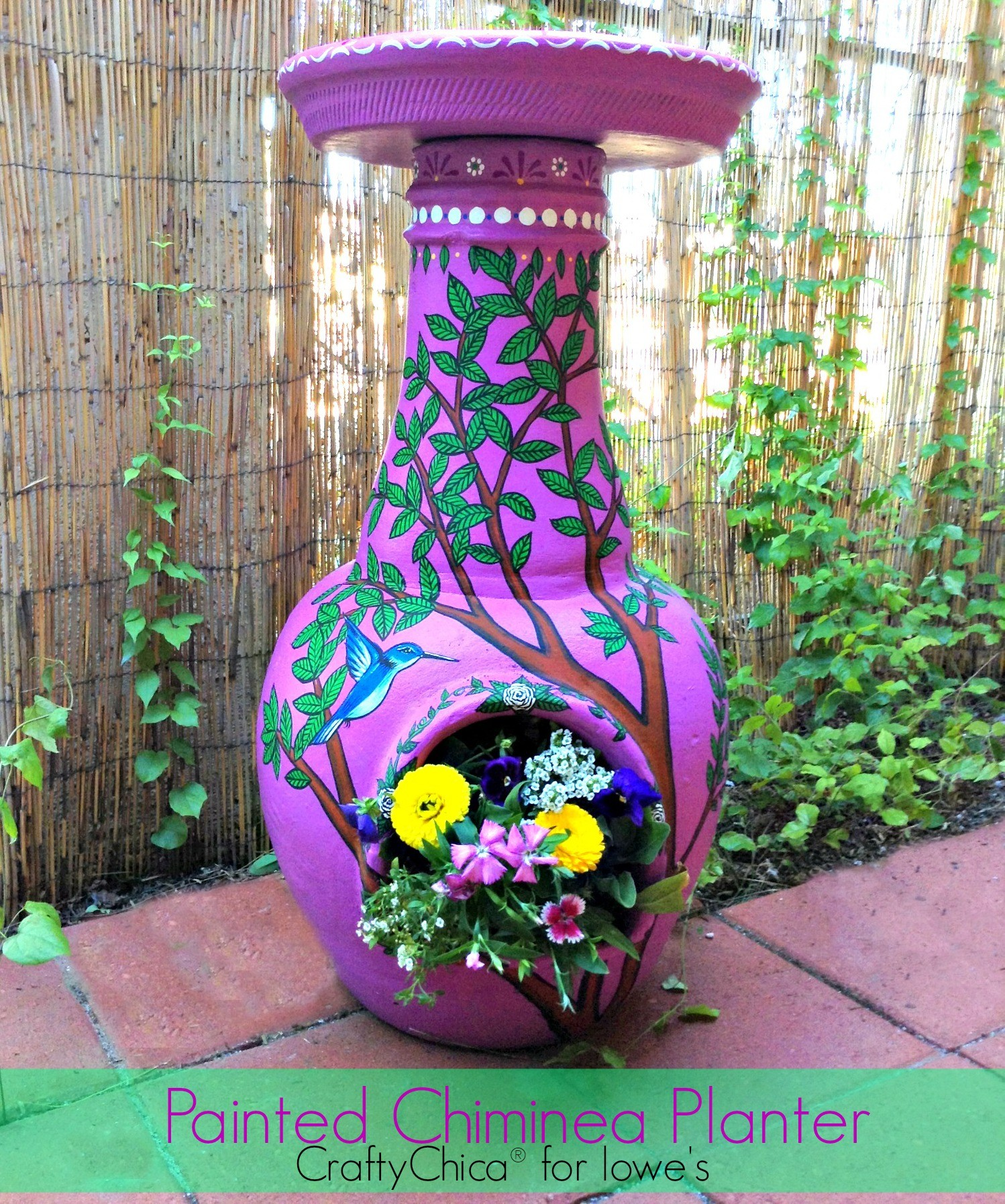 Painted Chiminea Planter The Crafty Chica