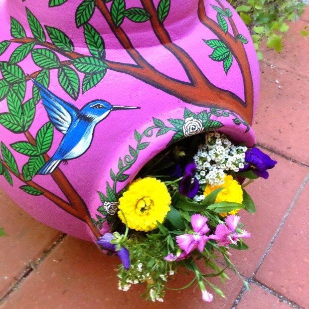 Painted Chiminea Planter by CraftyChica.com
