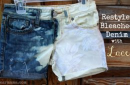 Bleached denim shorts with lace by Pearmama.com