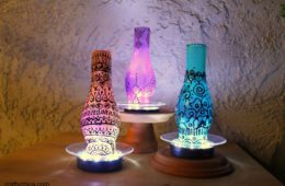 Painted chimney lamps by crafty chica