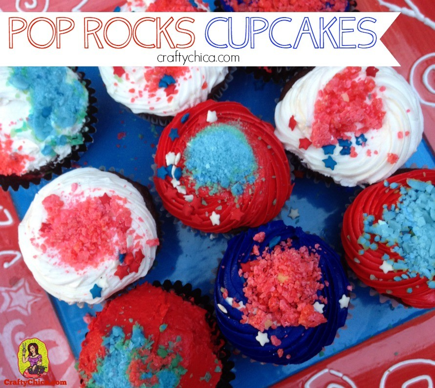 Sprinkle Pop Rocks candy on top of cupcakes for a poppin' 4th of July treat!