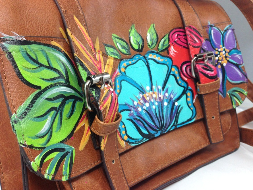 Painted thrift store purse