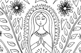 Mother Mary coloring page and/or embroidery pattern by Kathy Cano-Murillo.