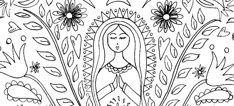 Mother Mary Coloring Page & Pattern - The Crafty Chica