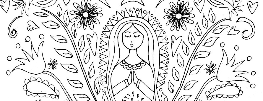 Mother mary coloring page pattern the crafty chica for Papel picado template for kids