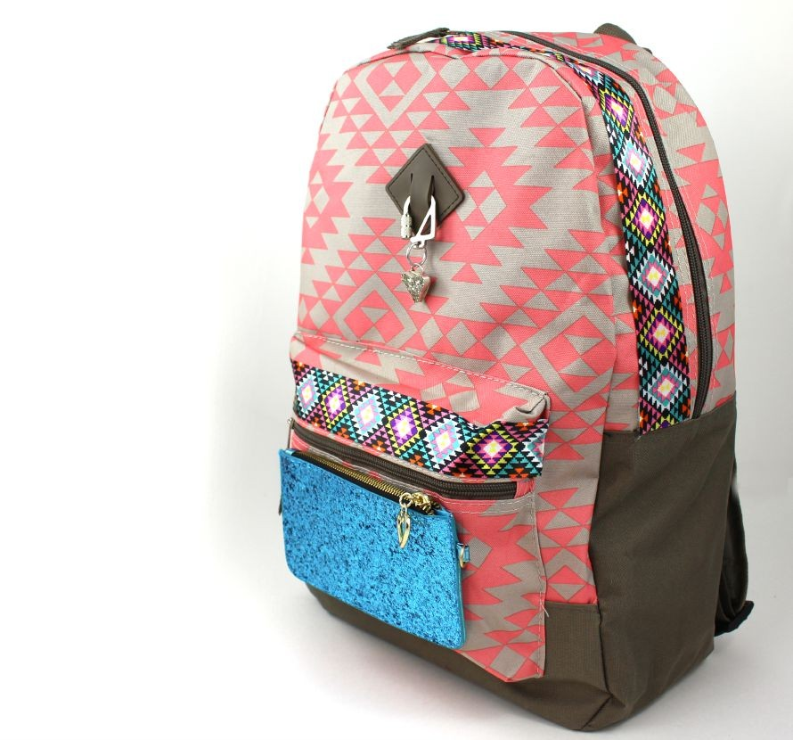 Add a coin purse and trim to liven up a backpack!