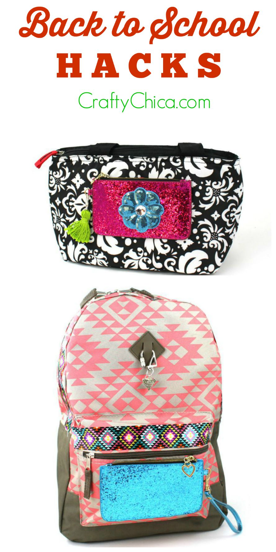 Backpacks hacks for back to school: Use hot glue and fabric tape to add a coin purse and trim! CraftyChica.com.