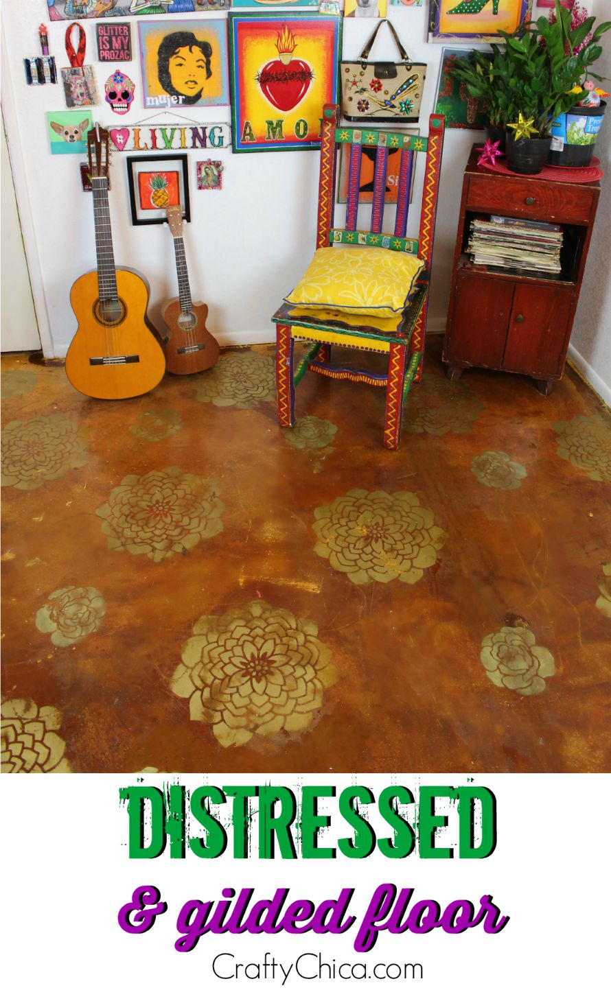 Create the look of a distrssed and gilded floor by CraftyChica.com