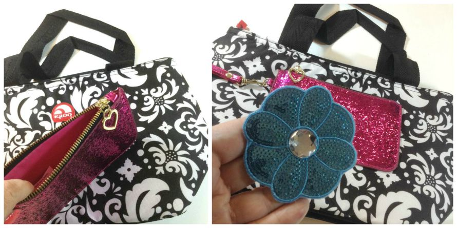 Hot glue a coin purse and applique to a lunch bag!