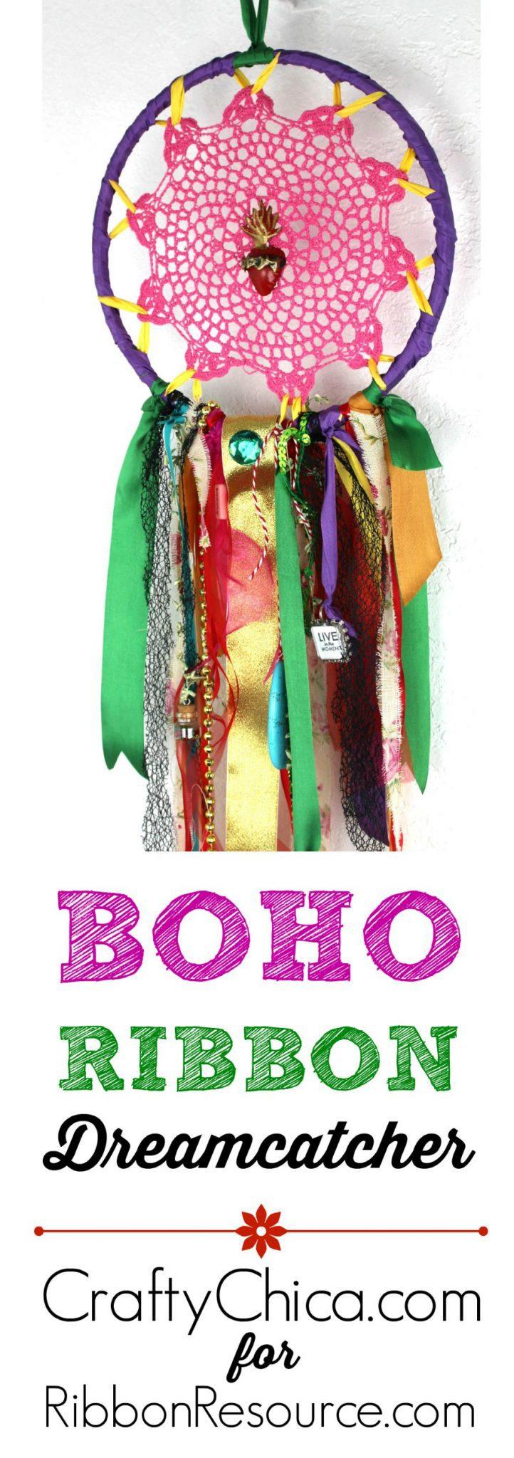 Boho Ribbon Dreamcatcher by CraftyChica.com