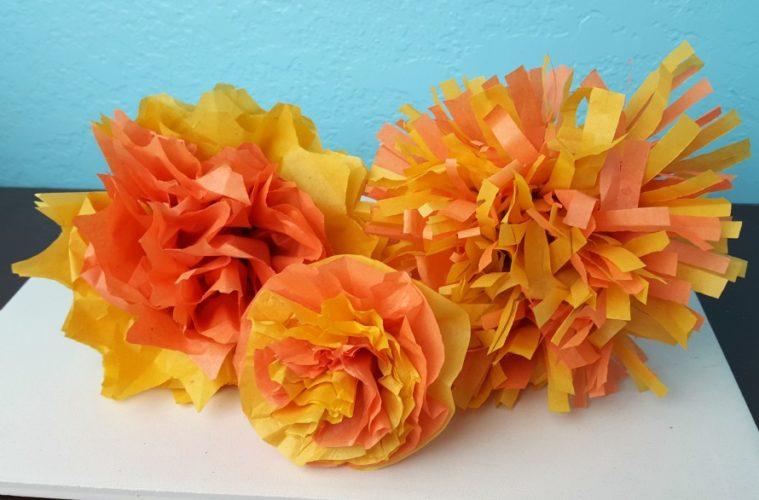 DIy Marigold paper flowers