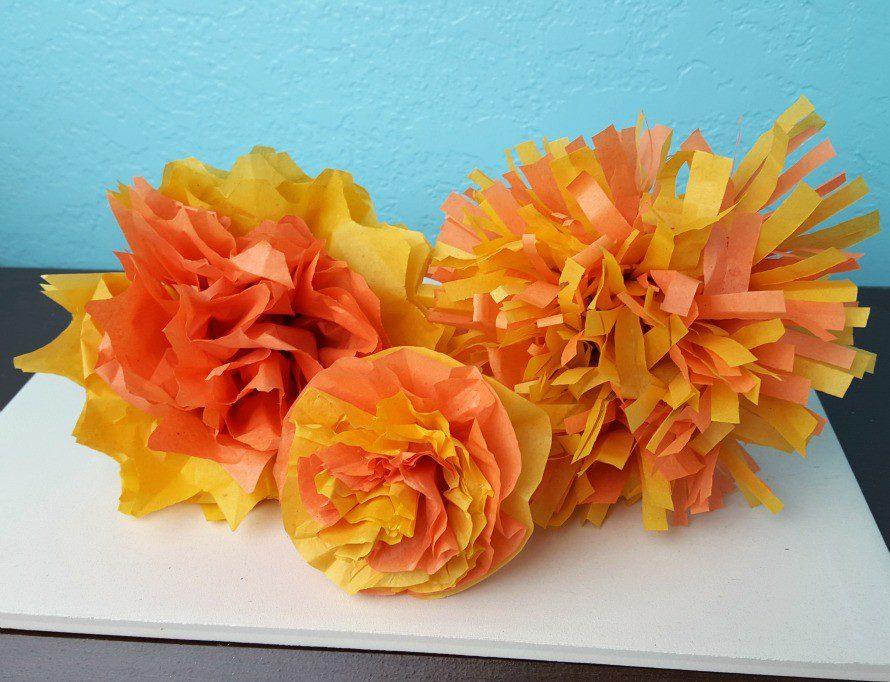 marigold tissue flowers