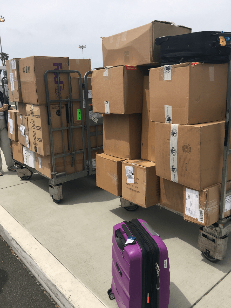50+ boxes ready to be loaded on the ship!