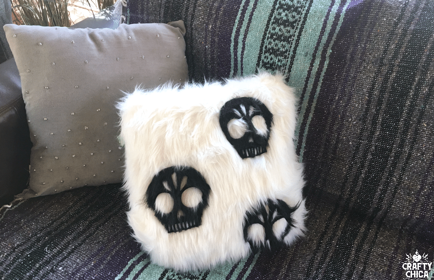 Faux Fur Skull Pillow by Crafty Chica