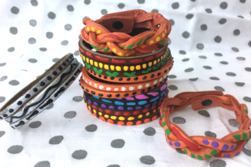 painted leather bracelets by CraftyChica.com.