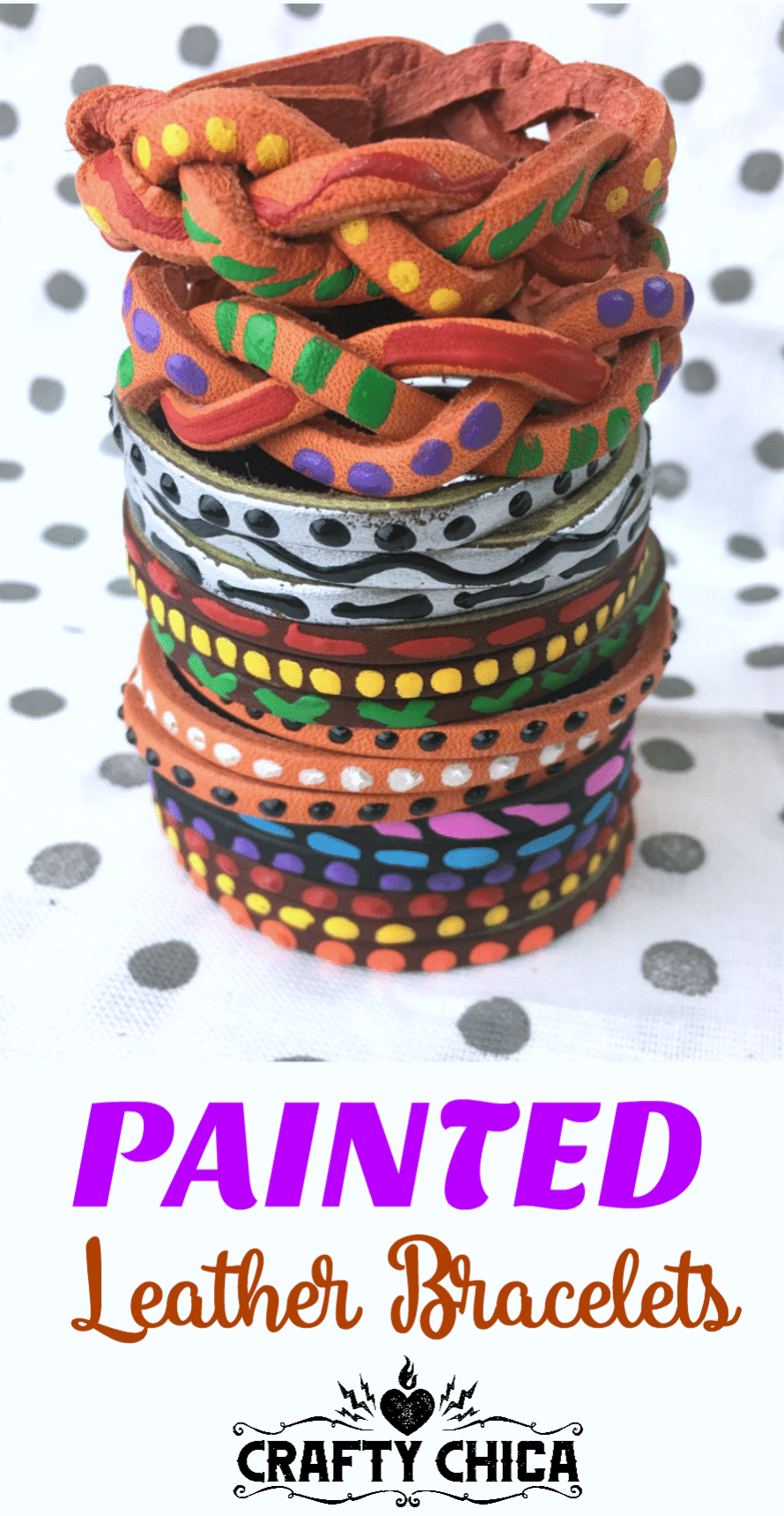 Painted leather bracelets by CraftyChica.com