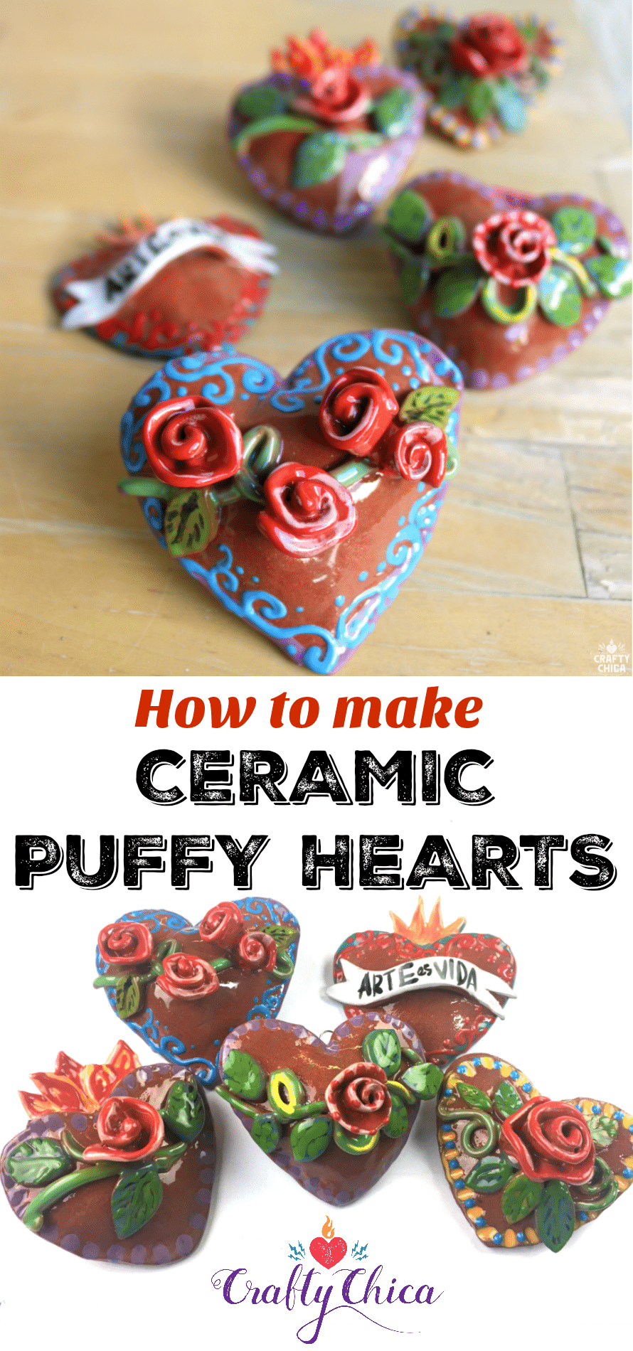 Puffy Ceramic Hearts by Crafty Chica