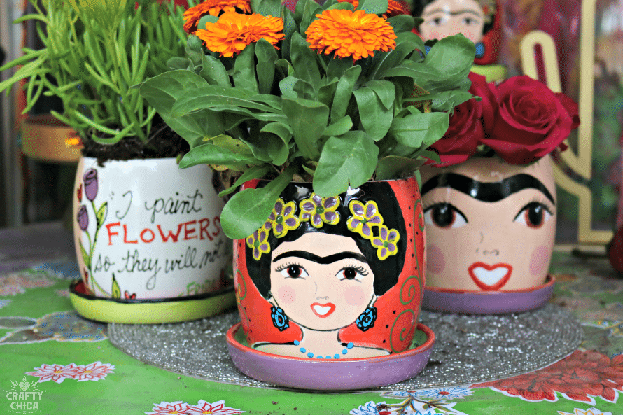 Frida-inspired Planters - The Crafty Chica