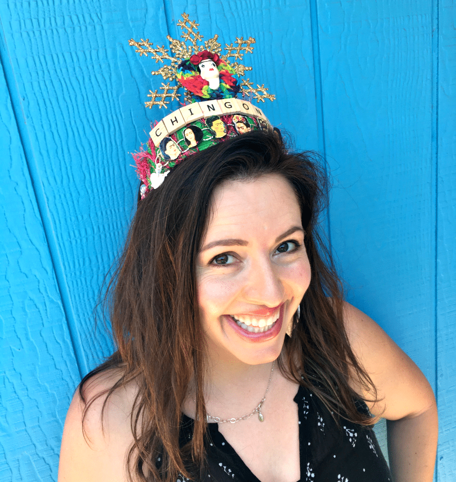 Genevieve Gil models a Crafty Chica art crown.