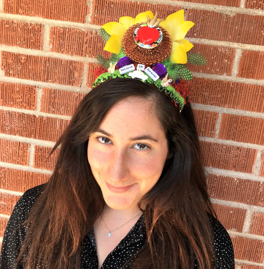 Carmen Love models a Crafty Chica art crown.