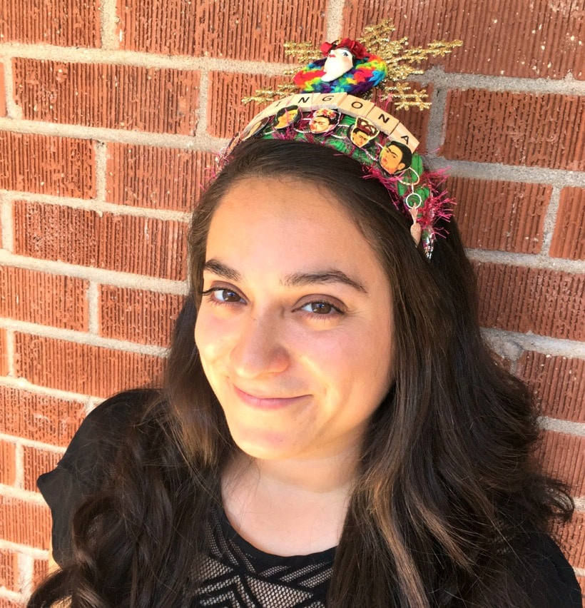Maira Garcia of enthusiastic About life is wearing a Latinx Art Crown by Crafty Chica.